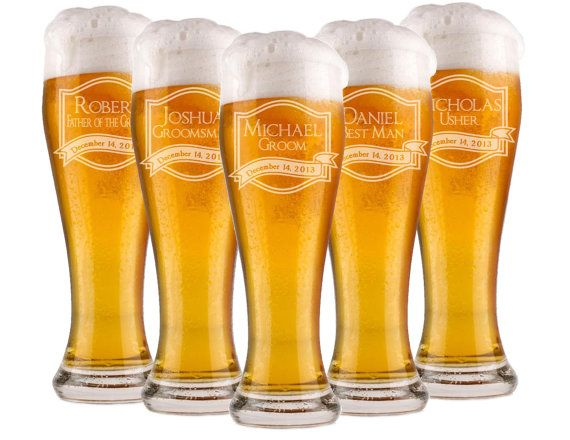 Looking For a Custom Gift For the Wedding Party? Our Personalized Beer Glasses Make an Excellent Wedding Favor Keepsake! Each Personalized