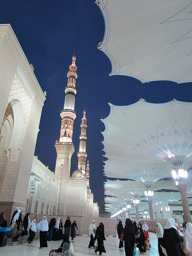 Masjid Nabawi (The Prophet's Mosque) at dawn, Madinah
