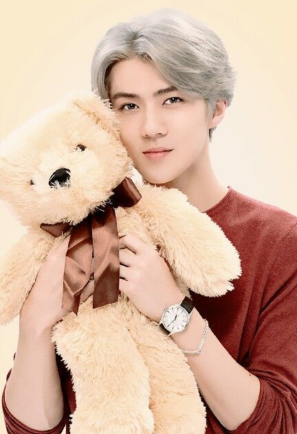 OMG... is Sehun cuter or the teddy bear ... Sehun of course #exo