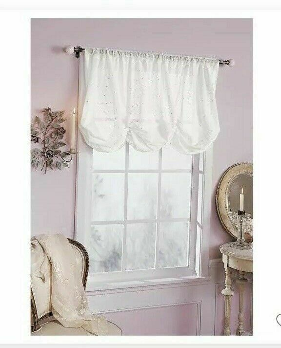 embroidered batiste balloon window valance white 60 x 63 simply rh pinterest com