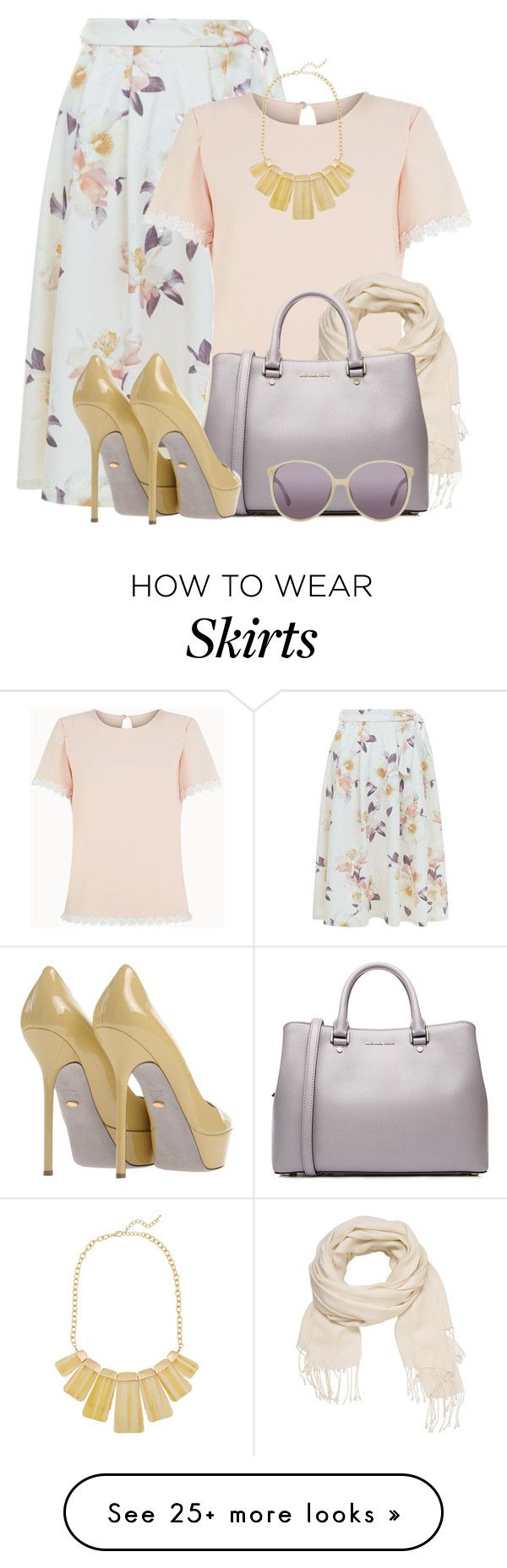"""New Look Floral Midi Skirt"" by brendariley-1 on Polyvore featuring New Look, Poppy Lux, maurices, Kenneth Jay Lane, MICHAEL Michael Kors, Sergio Rossi and Linda Farrow"