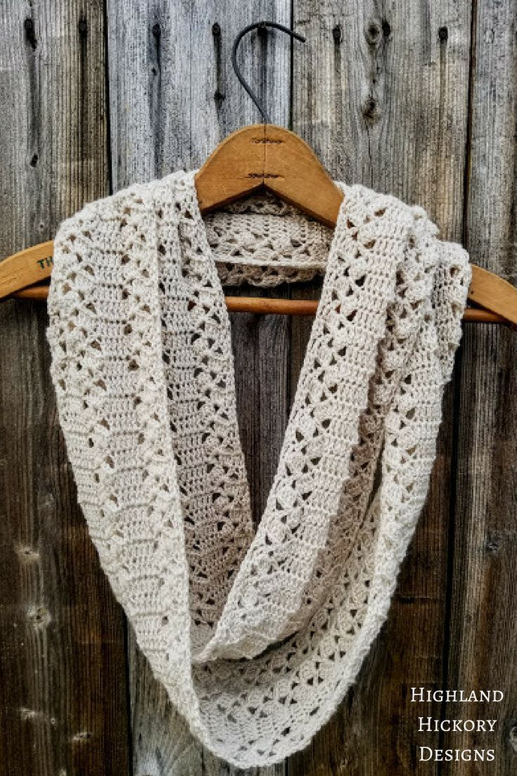 Rustic Lace Scarf Highland Hickory Designs Free Crochet Pattern Crochet Scarves Crochet Scarf Crochet Infinity Scarf Free Pattern