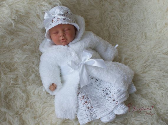 Christening clothes ,Christening coat,Baptism dress,crochet baby dress,Christening gown,Flower girl dress,handmade crochet,