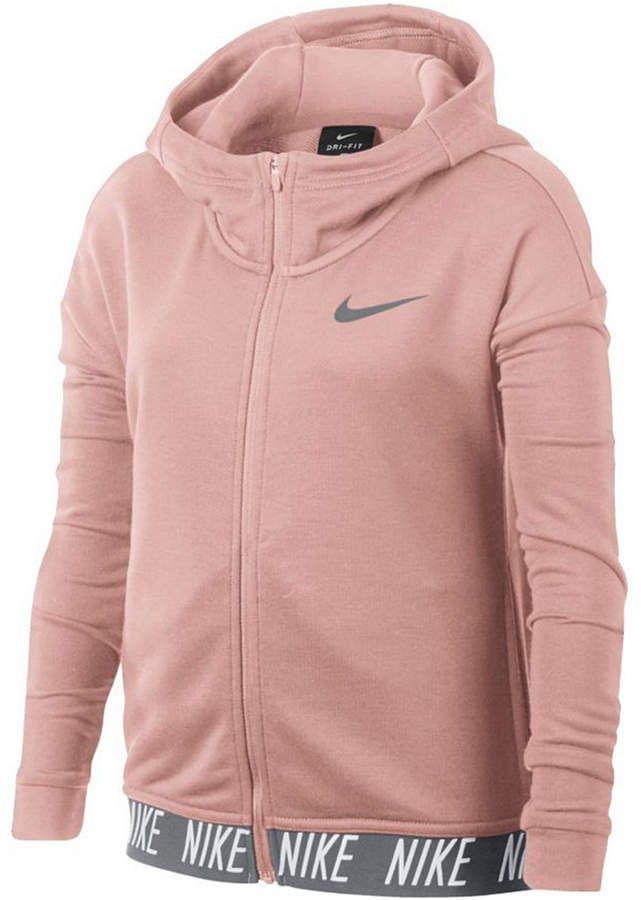 01aca8632 Nike Big Girls Zip-Up Dry Training Hoodie
