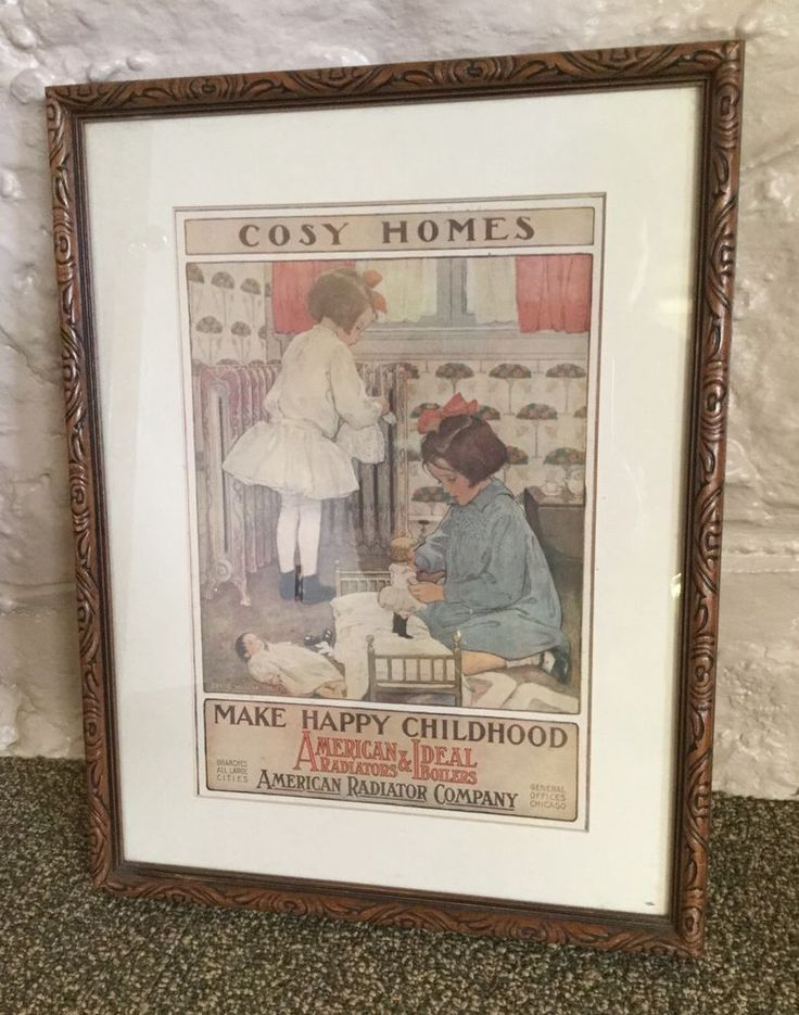 American Radiators Ideal Boilers Jessie Willcox Smith Ad 'Cosy Homes' Framed | eBay