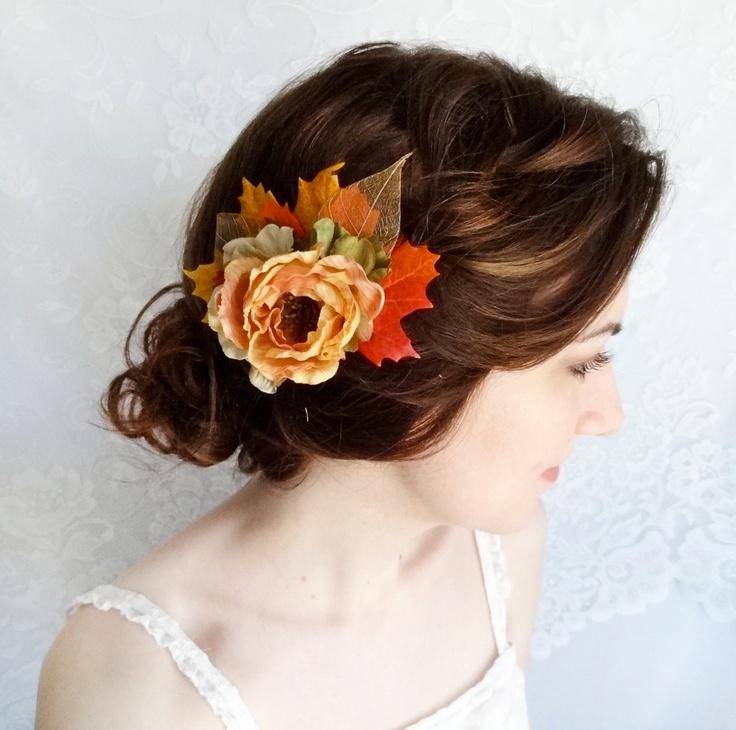 fall flower hair clip, autumn leaf, orange hair accessories - HARVEST - pumpkin orange, rust, rustic wedding. $55.00, via Etsy.