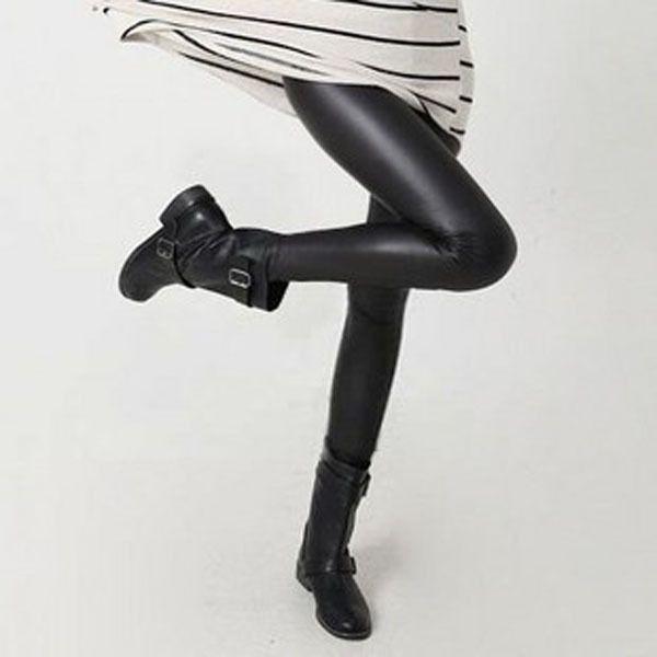 Women Hot Sexy Black Wet Look Faux Leather Leggings Slim Shiny Pants