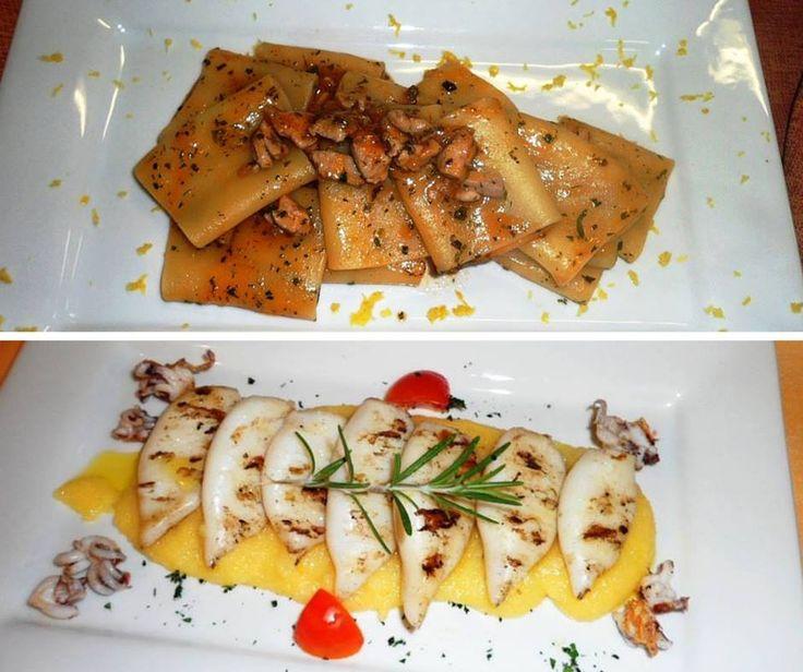 Paccheri con #tonno fresco, erbe aromatiche e limone  #Totanetti alla griglia con polenta