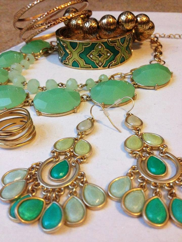 """Illusion"" Bangle Bracelet, ""Chevron"" Bracelet, ""Arabesque"" Bracelet, ""Mint Condition"" Necklace, ""Down To The Wire"" Ring, ""Minty Fresh"" Earrings"
