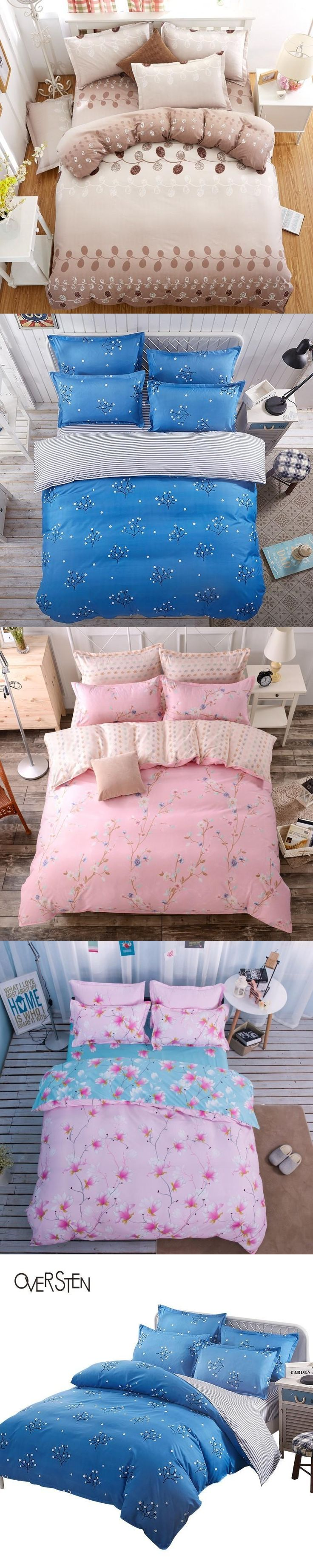 OVERSTEN Pastoral Style Double Single Bedding Set Twin Queen King Size Duvet Cover 2 1 Plant Pattern Bedding Kit Bed Cover