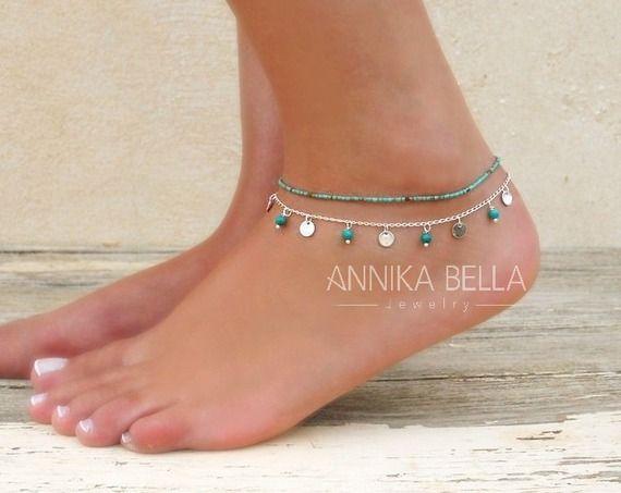 Ensemble de deux chaînes de cheville, chaîne de cheville à pièce en argent et chaîne de cheville à perles de turquoise