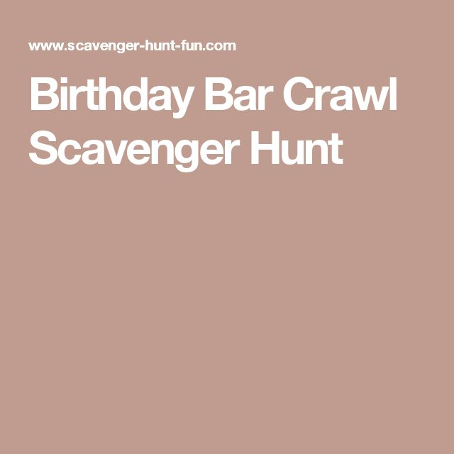 Birthday Bar Crawl Scavenger Hunt