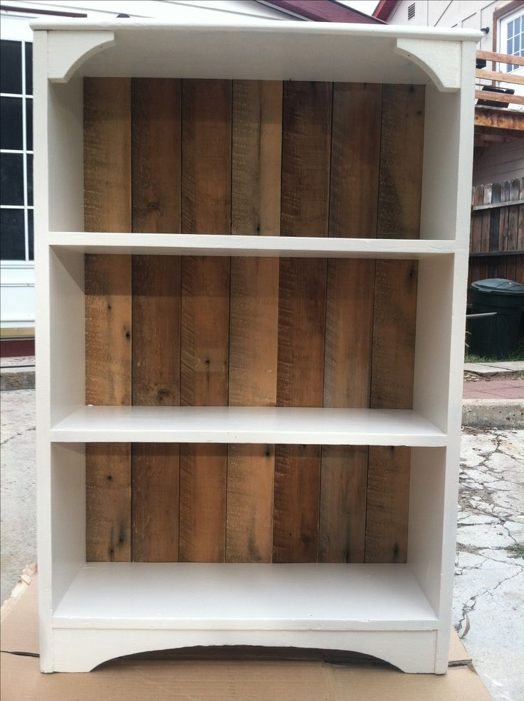 Bookcase redo! nice idea for barnwood when you want a touch of it but not a lot