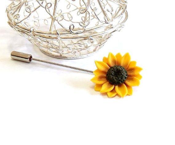 Yellow Sunflower Boutonniere Rustic Groom by NikushJewelryArt