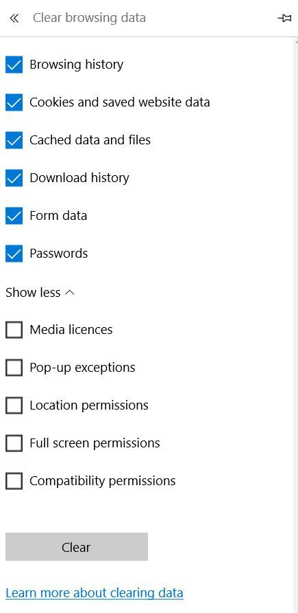 Screenshot of Clear Browsing Data in Microsoft Edge (Windows 10).  Taken on 7 October 2015.