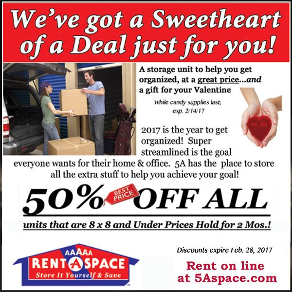 Take Advantage Of Our February Special. 50% Off All Units That Are 8x8 And