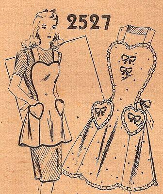 I Heart You, lovely vintage apron pattern.