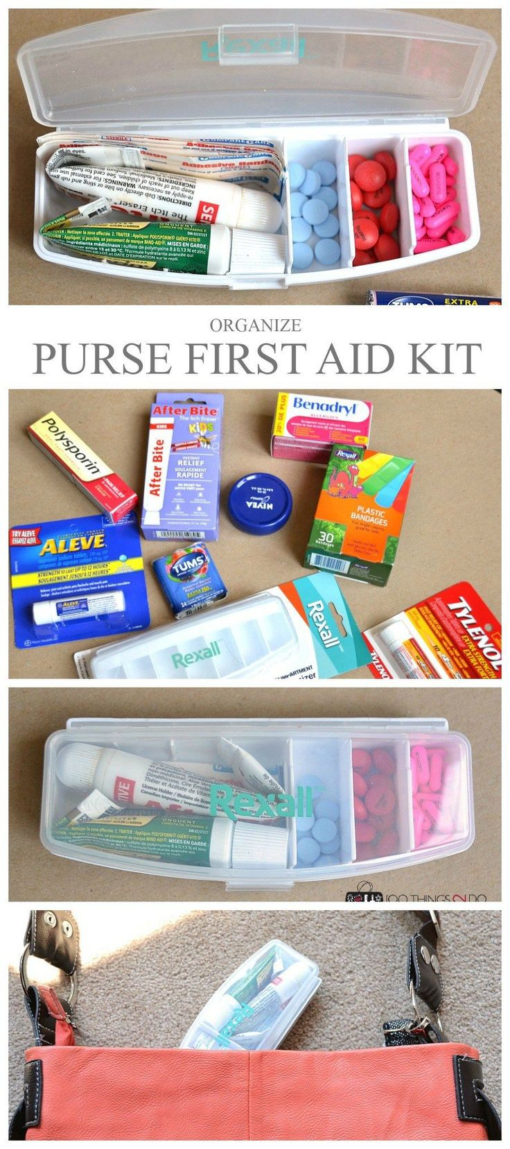 First Aid Kit Ideas, these would be great for a glove box. CLEARLY LABEL EVERYTHING.  Keep the basics at hand and include items that you may need.