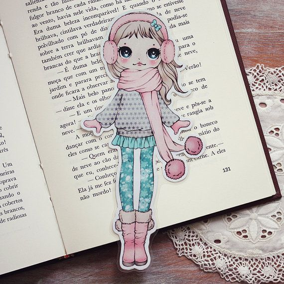 Ear Muffs Girl Bookmark (◕ᴥ◕) Kawaii Panda - Making Life Cuter