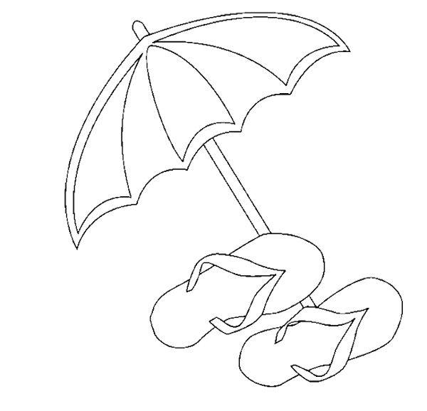 Umbrella Sandals Coloring Pages Kids