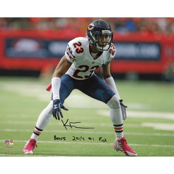 """Kyle Fuller Chicago Bears Fanatics Authentic Autographed 8"""" x 10"""" Defensive Back Stance Vertical Photograph with Bears 2014 #1 Pick Inscription - $19.99"""