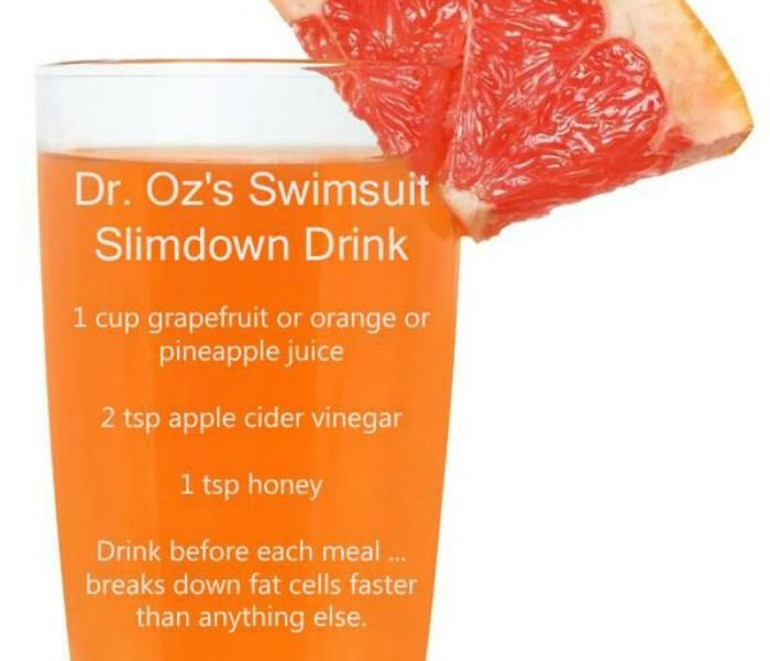 Well according to the infamous Dr. Oz, there is a drink you can have prior to meals that will do just that! Here is the recipe Dr. Oz's Swimsuit SlimDown Drink: 1 cup grapefruit, orange or pineapple juice (it needs to be acidic) 2 tbsp apple cider vinegar (preferably organic) 1 tsp honey (again, organic ...