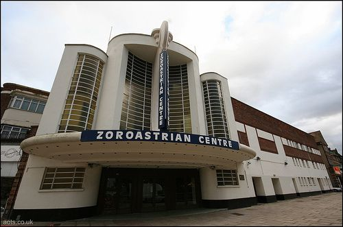 Zoroastrian Centre, Harrow, West London    The Grosvenor - former art deco cinema in Rayners Lane, now home to the Zoroastrian Centre. Designed by FE Bromige, its front features a curved structure which is an abstract version of an elephant's trunk.
