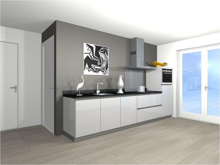 Afbeeldingsresultaat voor witte keuken met gekleurde achterwand