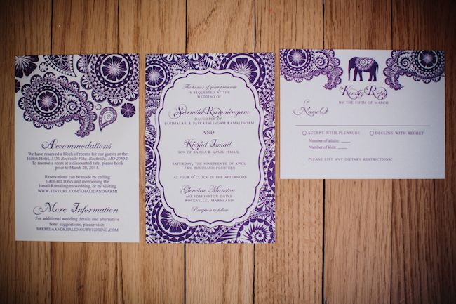 Purple And White Paisley Elephant Indian Wedding