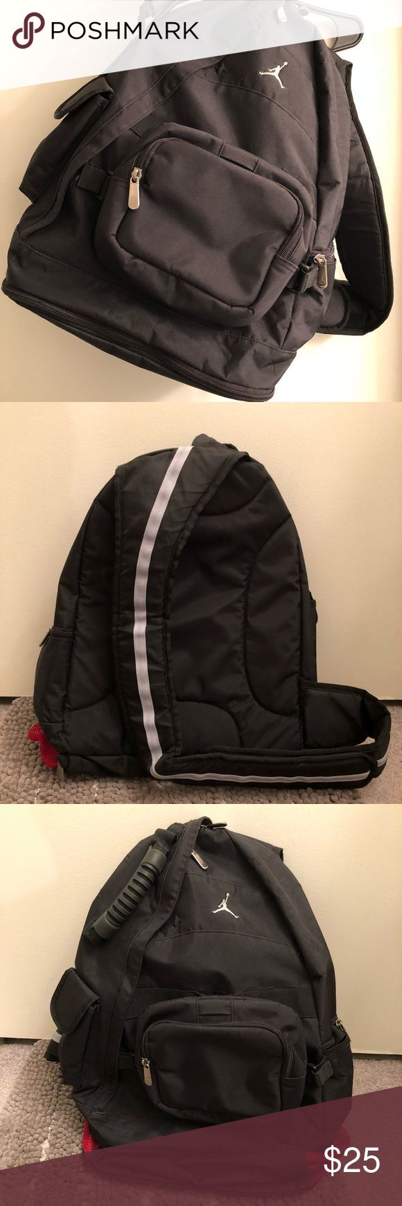 """Nike Jordan Single Strap Backpack Nike Jordan Single strap back pack. Used but still in Great condition. Very well taken care of. All zippers work. Can unzip to allow for more storage. Measurements taken while laying flat: 13"""" wide. Closed 16"""". 25"""" unzipped. Nike Bags Backpacks"""
