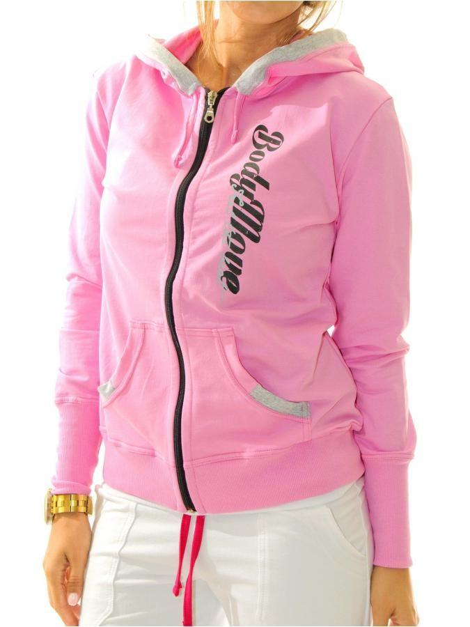 Ροζ φούτερ ζακέτα με κουκούλα