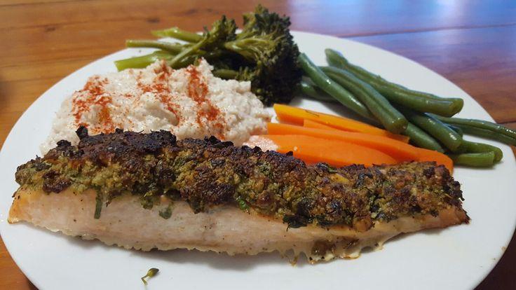 Almond and Herb crusted Salmon + Cauliflower Mash, beans, brocollini, carrot.