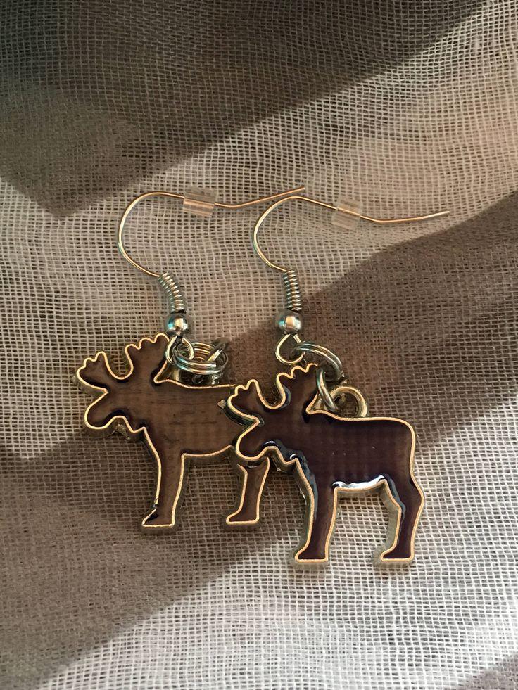 Handmade - Charm Earrings - Navy Moose - Fishhook Earrings - Charm Jewelry Earrings - Newfoundland and Labrador - Salty Air Inspirations by SaltyAirInspirations on Etsy https://www.etsy.com/ca/listing/551564171/handmade-charm-earrings-navy-moose