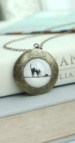 Cat and Mouse Locket Necklace. Round Antiqued Brass Locket Jewelry. Cat Lover Gift, Black Cat Jewelry. Christmas Gift Ideas. Holiday Gifts. Locket.https://www.etsy.com/listing/206106327/cat-and-mouse-locket-necklace-round?ref=shop_home_active_6