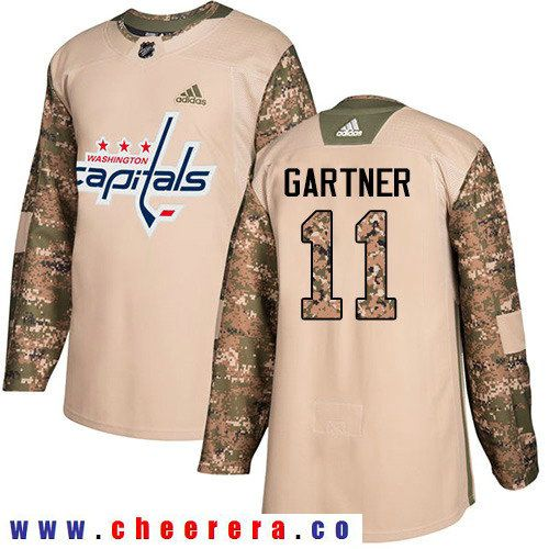 Adidas Capitals  11 Mike Gartner Camo Authentic 2017 Veterans Day Stitched NHL  Jersey 97432899ddb