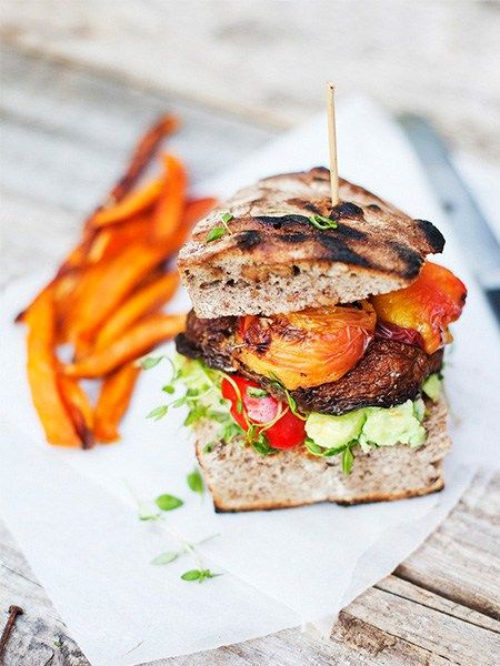 Mushroom & Peach burger, veggie burger, healthy recipes, Green Kitchen Stories
