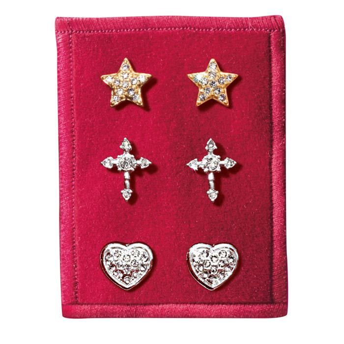 #Avon Endless Love Stud Earring Trio. Three pairs of stud earrings in limited edition set choices of: Sweet Bow, Celestial, Endless Love and Peace Dove. Post and bullet clutch backs, Packaged on a red background and ready for holiday gift giving. Regularly $9.99. FREE shipping with any $40 online Avon purchase. #CJTeam #Style #Sale #Jewelry #Fashion #Stylish #C24 #Earrings #EndlessLove #StudEarrings #Christmas #Gift #Modern #Avon4Me Shop Avon jewelry online @ www.TheCJTeam.com