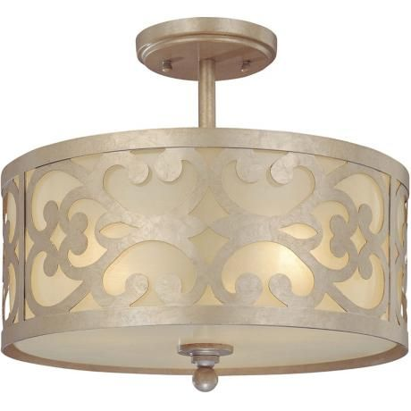 """Nanti Collection Champagne Silver 14"""" Wide Ceiling Light   Style # K3403  $186      Champagne silver finish.      Etched vanilla glass.      Take three 60 watt bulbs (not included).      12"""" high.      14"""" wide."""