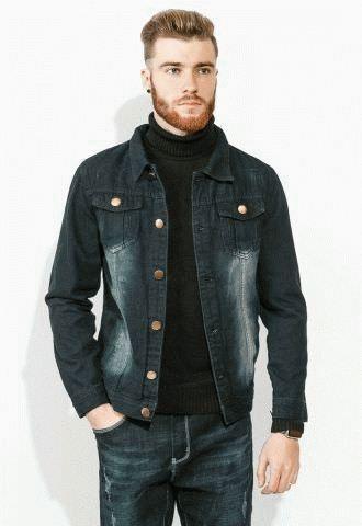 720efbd65b8 Куртка мужская стильная джинсовка 886K001 (черный)