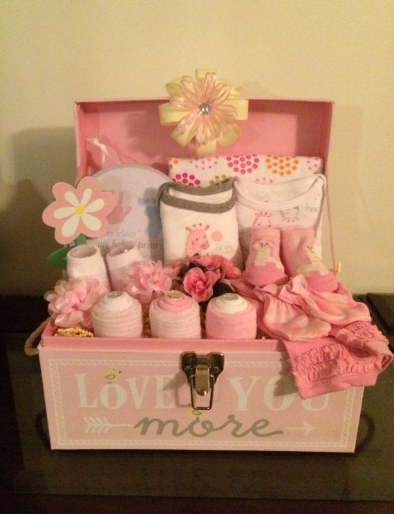 Pink Giraffe Baby Girl Gift Basket Tote Chest