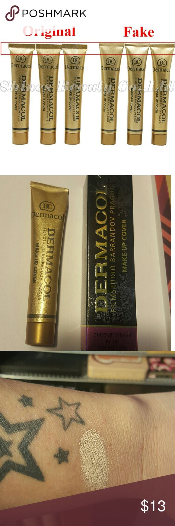 Beware! There is already fake dermacol!!! I AM NOT SELLING THIS! THIS IS A WARNING MESSAGE FOR EVERYONE TO BEWARE OF THE FAKES!  I purchased this off a different site and recieved a fake! You can see in the first pic how to spot a fake and then in the 2nd is what I recieved. I ordered 207 and it was almost white in color and was sticky and had awful coverage!   I swatched in 3rd pic.  In 4th pic are swatches of the real 207 and u can see the huge difference! dermacol Makeup Foundation