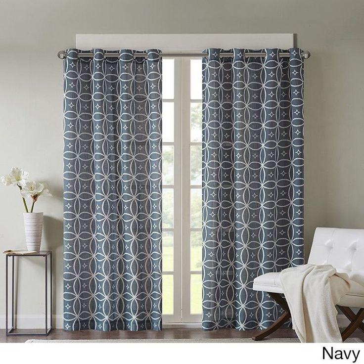 Madison Park Misha Texture Fret Printed Curtain Panel (50x84-Navy), Blue, Size 50 x 84 (Linen, Novelty)