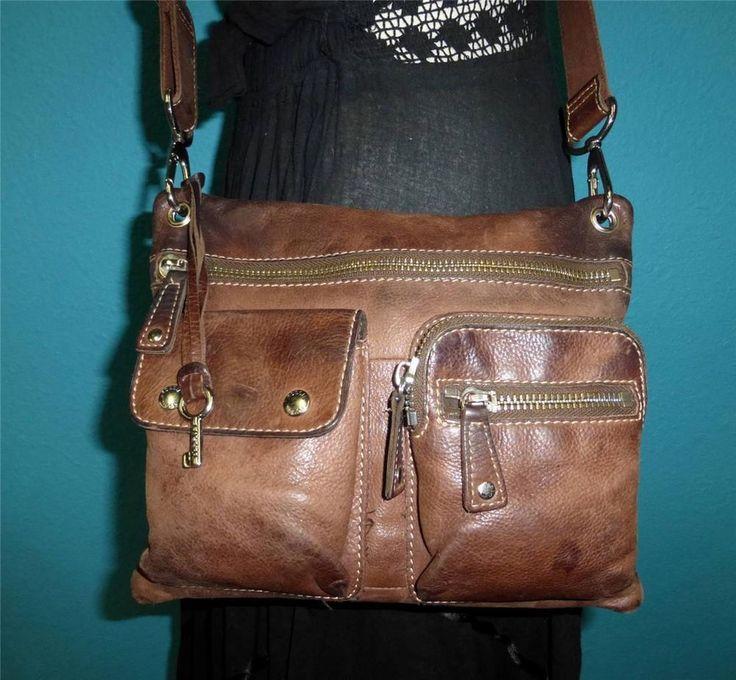 FOSSIL SUTTER Rugged Brown Leather Smaller-Medium Satchel Cross Body Purse Bag #Fossil #CrossBodySatchel