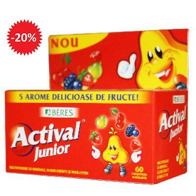 Actival Junior este un supliment alimentar complex cu minerale şi oligoelemente destinat copiilor, cu cinci arome diferite (ciocolată, zmeură, cireşe, mere, alune), ce conţine îndulcitori.