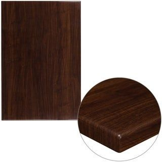 """30"""" x 45"""" High-Gloss Resin Table Top with 2"""" Thick Drop-Lip (Walnut), Brown, Lancaster Home"""