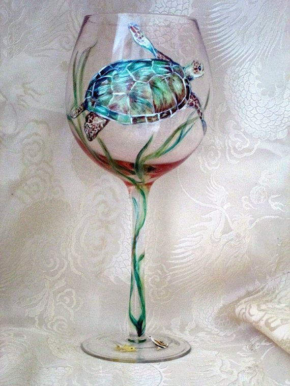 Sea Turtle Wine Glass by cassidy808 on Etsy, $20.00