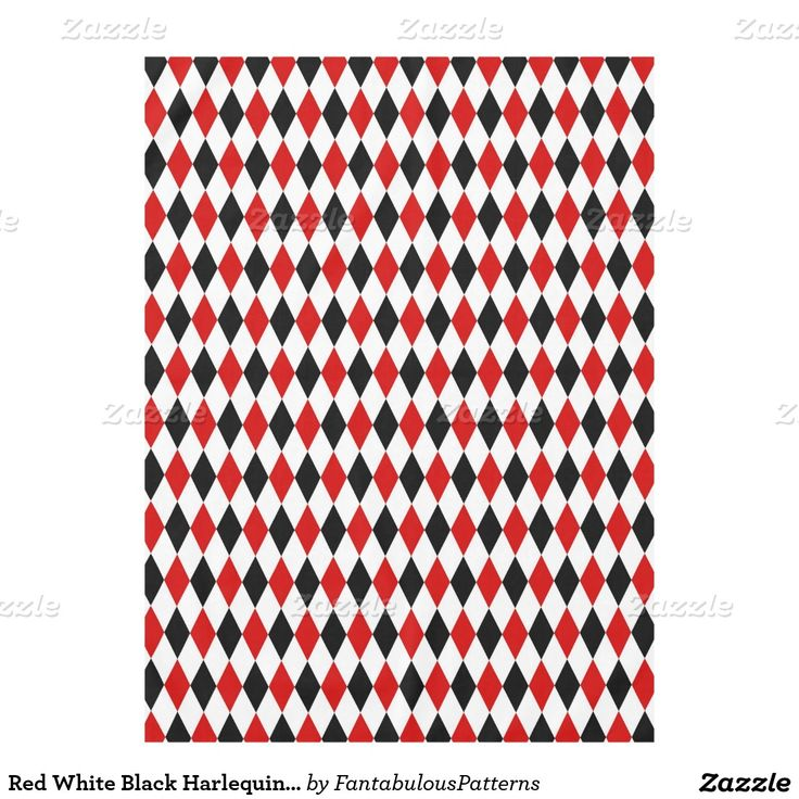 Red White Black Harlequin Diamond Pattern Tablecloth