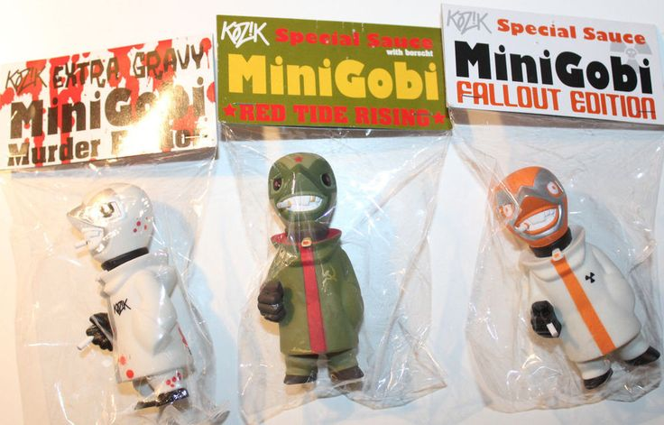 "Kozik Muttpop Mini Gobi 3x Vinyl Figures Fallout Murder Red Tide Rising 4"" #Monster5"