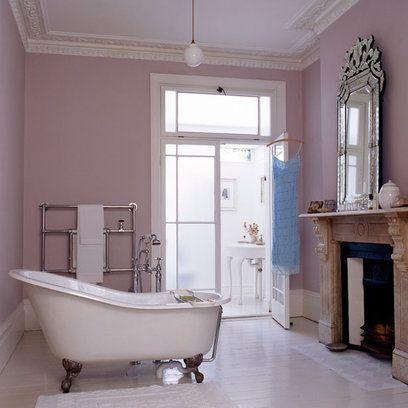 the perfect bathtub: Bathroom Design, Decor, Feminine Bathroom, Bathtub, Wall Color, Bathroom Ideas, Fireplace, Dream Bathroom
