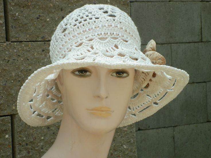 Krajkový klobouk - materiál - 100% bavlna, dřevěný korál, stuha